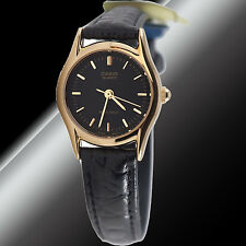 Casio LTP-1094Q-1A Ladies Analog Watch Leather Band Black - Gold Rim Face New