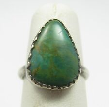 Vintage Navajo Sterling Silver Green Royston Turquoise Ring
