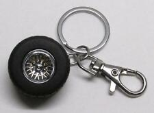 Chrome Racing TIRE on RIM Wheel Metal Alloy Aluminum KEY CHAIN Ring Keychain NEW