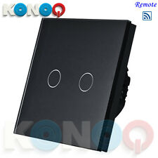 KONOQ Luxury Glass Panel Touch LED Light Switch:REMOTE ON/OFF, Black, 2Gang/1Way