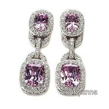 Jean Dousset 12.42ct Absolute Created Pink Sapphire Pavé Frame Drop Earrings