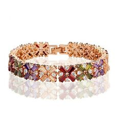 Sparkly Shiny Rose Gold Plated Multi Coloured Zircon Mona Lisa Bracelet Bangle