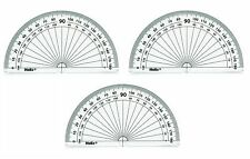 3 PROTRACTORS, HELIX, 180 DEGREES, 10CM / 4IN. DIAMETER, NEW, CLEAR, PLASTIC