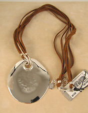 Robert Lee Morris Soho Silver-Tone Hammered Disc Corded Length Pendant Necklace