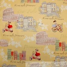 BonEful FABRIC FQ Cotton Quilt Yellow White French Country Roma*n Villa Cottage