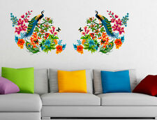 Wall Stickers Peacock Birds on Colourful Branch Leaves Wall Design 6900040