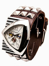 ALBERTO FLORO:HEAVY LEATHER BIKER METAL STUDS STYLE BAND LARGE CASE ANALOG WATCH