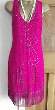 Jane Norman ❤️ Pink Beaded Tassel 1920's Flapper Gatsby  Dress Size 8