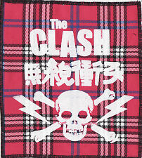 THE CLASH PINK TARTAN OVERLOCKED PATCH JAPAN SKULL LIGHTNING BOLT PUNK 1997
