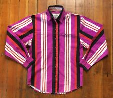 Women's Vintage Wrangler Western Cowboy Button Down Shirt Striped Purple Red (S)