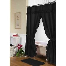 Carnation Home Fashions Lauren Double Swag Shower Curtain, Black Fscd-L/16 New