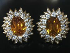 CHRISTIAN DIOR Faux Topaz Crystal Earrings Statement Runway MINT condition