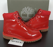 TIMBERLAND 6-INCH RED SHINE WATERPROOF JUNIORS GIRLS BOOTS $160 NEW A151B SIZE 6