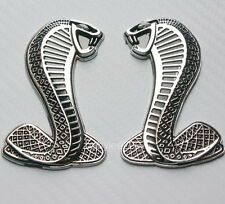 2x 3D Metal Mustang Shelby GT Cobra Snake Badge Decals Bumper Fender Stickers