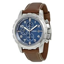 Fossil Dean Chronograph Blue Dial Brown Leather Men's Watch FS5022