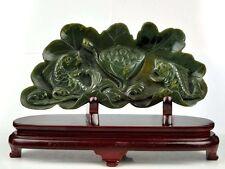 Natural Nephrite Jade Carving Koi Fish Lotus Statue /Sculpture