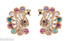 """0.75"""" Drop, Gold Tone Austrian Crystals, Post with Clip, Peacock Earrings"""