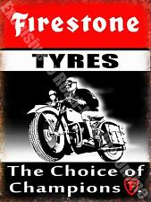 Vintage Garage Firestone Tyres, Motorcycle Motorsport, 20, Medium Metal/Tin Sign