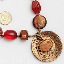 Chico's Signed Necklace Bronze / Copper Tone Chunky Ruby Red & Amber Color Beads