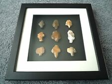 Paleolithic Arrowheads in 3D Picture Frame, Authentic Artifacts 70,000BC (T069)