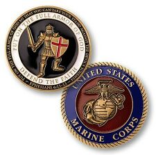 US Marine Corps Put on the Whole Armor of God Gold Plated Challenge Coin