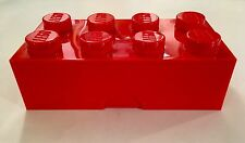 1 LEGO RED Storage Brick 8 Plastic Case Container, Unique & Rare, Opens