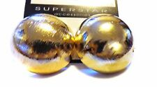 LARGE GOLD EARRINGS 1 INCH BRUSHED SHINY GOLD TONE CIRCLE DOME EARRINGS PIERCED