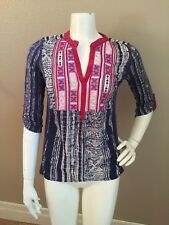 Tiny Brand Anthropologie Cotton/Rayon Multi Color Contrast Panel Blouse XS NWOT!