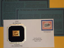 22K Gold 1918 Inverted Jenny 24 Cent Airmail Gold Proof Replica Stamp