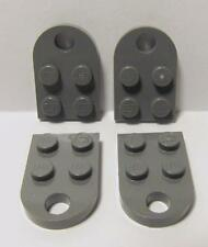 LEGO Parts~(4) Plate, Modified 3 x 2 with Hole 3176 DARK BLUISH GRAY