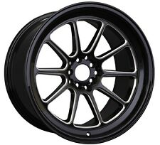 XXR 557 17x8 5x100/114.3 +15 Black/Milled Wheels Fits Accord Rsx Tsx Tiburon