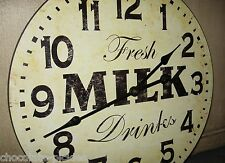 MILK Wood Wall CLOCK*Farmhouse French Country Kitchen*Primitive Dairy Decor *15""