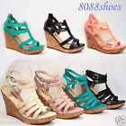 Women's Fashion Strappy Open Toe Wedge Platform Sandal Shoes Size 5.5 - 11 NEW