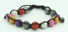 Multi colored Ball Bracelet with 6 Different colored Crystal Diamond Beads