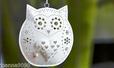 METAL OWL BIRD HANGING TEALIGHT TEA LIGHT CANDLE HOLDER LANTERN HOME GARDEN GIFT