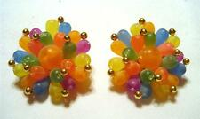 BEAUTIFUL VTG. MULTI-COLOR FROSTED PLASTIC & BRASS BEAD CLUSTER CLIP-ON EARRINGS