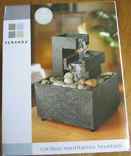 Veranda Calming Relaxing Cordless Meditation Water Fountain Brand New In Box