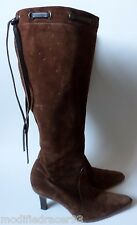 Coach Bella Knee High Heel Boots Brown Suede Leather Lace 8.5