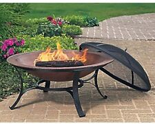 Cast Iron Copper Finish Fire Pit with Screen and Cover Patio Deck Yard Garden