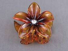 "Brown shiny plumeria hawaiian flower barrette hair clip claw clamp 2 5/8"" wide"