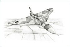 RAF Avro Vulcan print signed by 10 aircrew inc 3 Black Buck, Falkland veterans