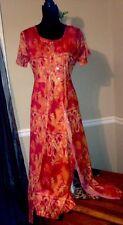 Women's Two Piece Long Dress Set Beautiful Exotic India Orange Print Sz 8