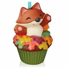 2015 Hallmark Sly and Sweet Fox Keepsake Cupcakes Ornament 2nd Fall Leaves NIB