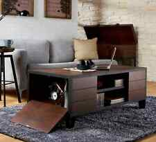 Industrial Coffee Table Storage Rustic Vintage Style Walnut Finish Fold Out Door