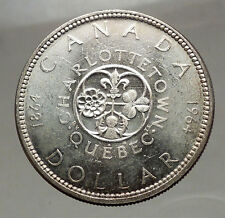 1964 CANADA Quebec Charlottetown Commemorative BIG SILVER Dollar Coin i57136
