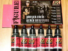 AK Interactive Panzer Crew Black Uniforms Acrylic Paint Set For Brush/Airbrush