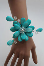 New Women Bracelet Turquoise Blue Beads Flower Elastic Cuff Band Fashion Jewelry