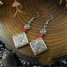 Vintage Faux Turquoise Beads Tibet Silver Square Flowers Women Earrings 6 Colors