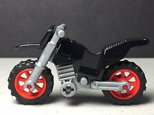 LEGO Dirt Bike / Motorcycle - NEW - Black with Red Rims Silver Chasis- City Town