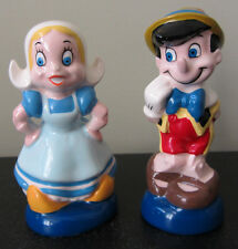 RARE Disney Pinocchio & Girl Doll Salt and Pepper Shakers Set Ceramic Porcelain